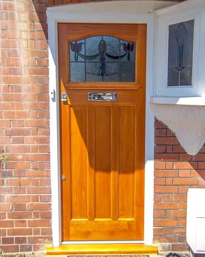 Stained Accoya 1920s front door with leadlight glass
