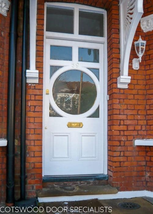 Circular glazed Edwardian door. Sandblasted glass with brilliant cut clear star. Door painted white