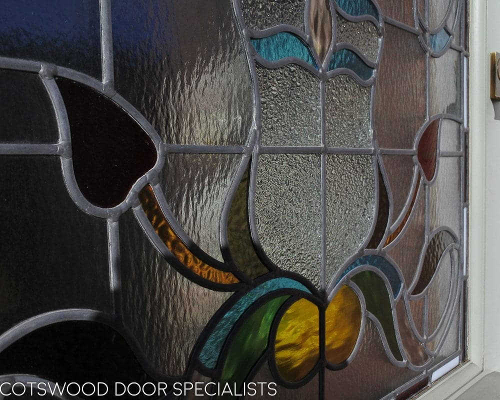 Edwardian 5 panel front door. Door with new frame. Stained glass to door and frame. Painted finish. Close up of stained glass