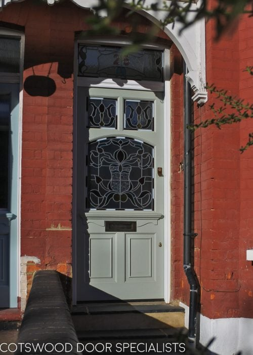 Edwardian 5 panel front door. Door with new frame. Stained glass to door and frame. Painted finish