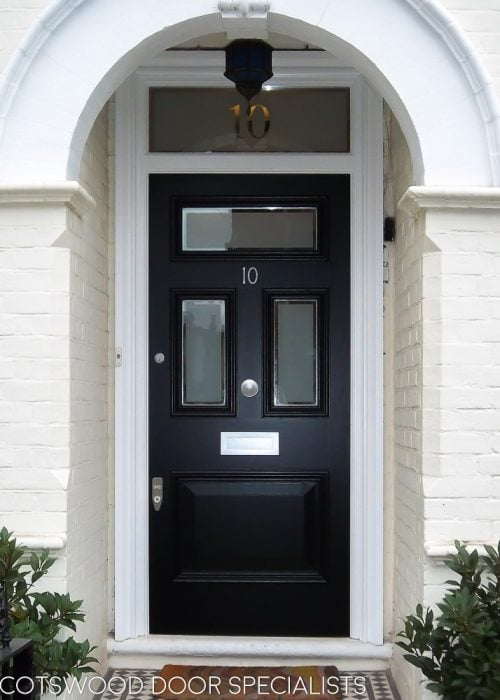Edwardian three glass front door with new door frame. Sandblasted glass with clear edge. Satin Chrome door furniture with banham locks