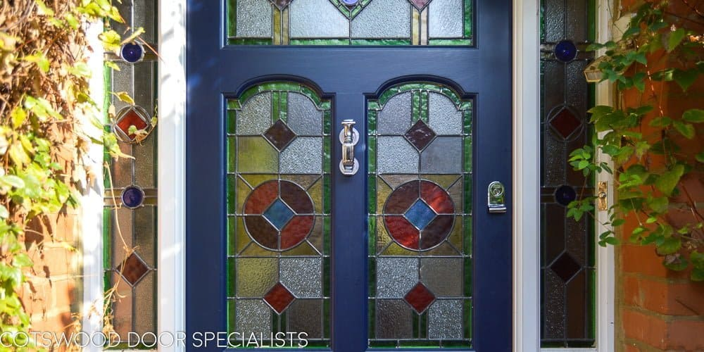 Edwardian three light front door and frame. Bespoke painted front door with stained and leaded glass