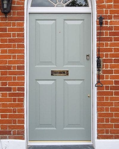 Georgian four panel front door fitted into fanlight door frame