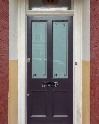 Purple Victorian door etched glass London house
