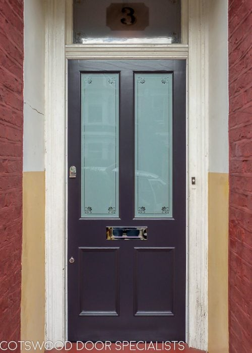 Purple Victorian door etched glass London house