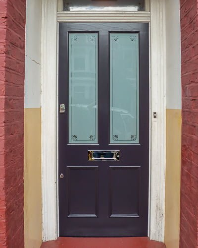 Purple Victorian door etched glass