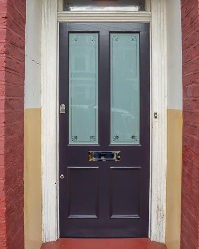 Purple Victorian door etched glass
