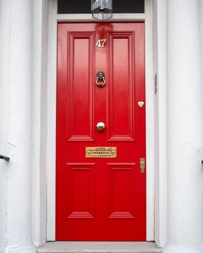 Solid Red Victorian London Door brass furniture