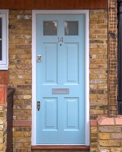 Top glazed Georgian front door fitted into new door frame London house
