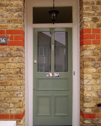 5 panel Victorian front door with etched glass and chrome letterbox