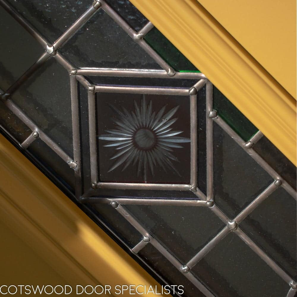 close up of stained glass in Victorian front door