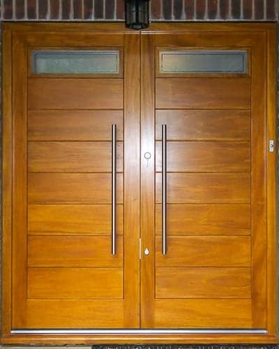 Contemporary glazed double doors. Modern appearance with satin chrome door furniture