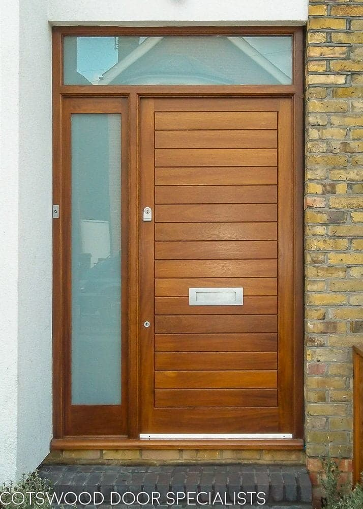 new style 100a3 f5326 Dark wood contemporary front door and sidelight frame ...