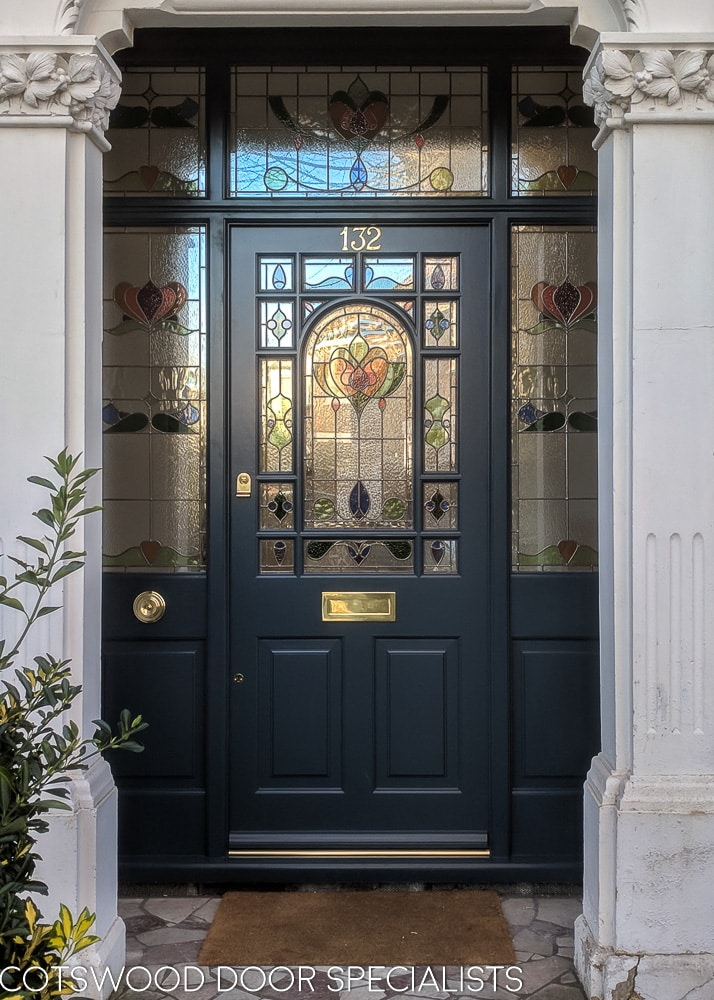 Decorative Edwardian Front Door With Stained Glass