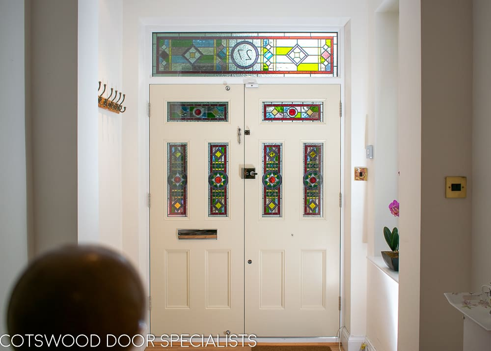 Victorian hallway stained glass front double doors