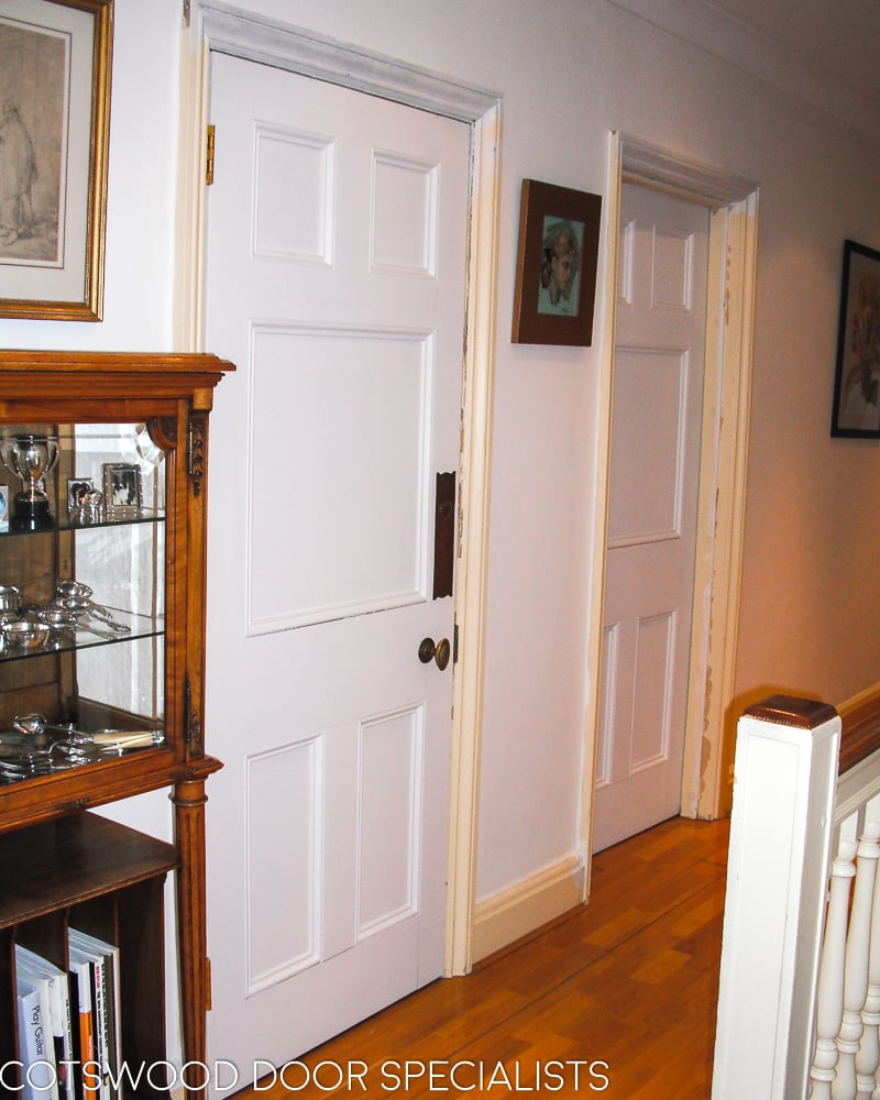 Edwardian internal doors, Art Nouveau finger plates, fitted in London, painted white with Teknos paints, fitted into existing frame