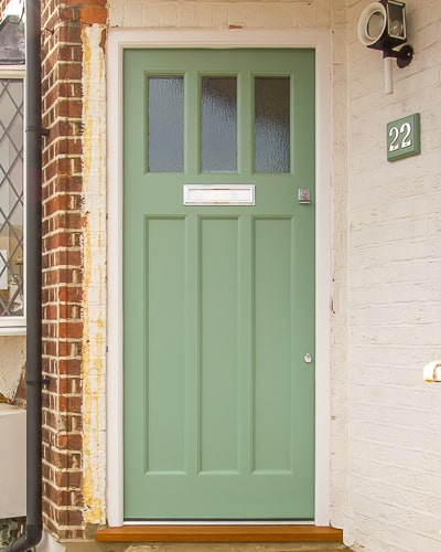 Green 1930s front door with textured obscure glass. Door made in accoya, with new accoya door frame. Satin chrome door furniture